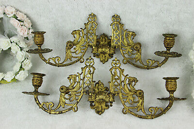 PAIR antique Gothic Dragon chimaera figurine piano sconces wall candle holders
