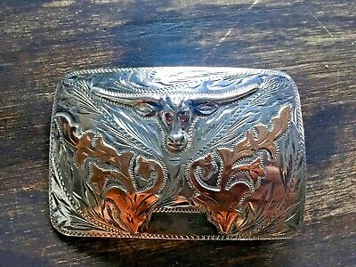 sterling Silver &10K Gold Longhorn Western Buckle- Excellent Condition