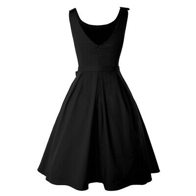 Female Sleeveless Pleated Solid Swing Sling Evening Party Midi Skater Dress LH