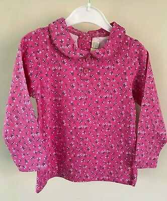 Ex Store Floral Girls Fuscia Ditsy Print Peter Pan Top Age  2 3 4 5 Years New