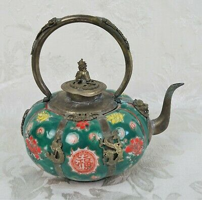 Rare Antique Marked Chinese Porcelain Metal Single Teapot With Foo Dog Lid Lion