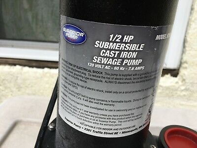 Superior 1/2hp Cast Iron Sewage Pump