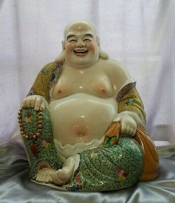 Antique Chinese Famille Rose Porcelain Laughing Buddha Qing Dynasty  - Marked