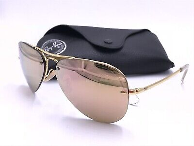 0064f9b09b Ray Ban RB3449 001/2Y AVIATOR Gold frame ; Copper Mirror lenses AUTHENTIC