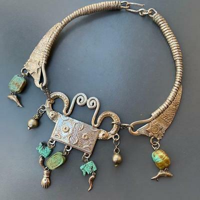 MASIVE Vintage Art Deco Egyptian Revival Silver Turquoise Bib Torque Necklace