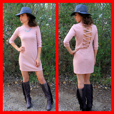New Blush Pink Sweater Dress w/ Low Cross Back 3/4 Sleeve Size Small Turtle Neck