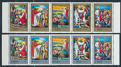 Sharjah 1971 Life Of Jesus Imperf & Perfed Sets Michel 759-68