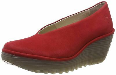 dd1726145f392 FLY LONDON YAZ Red Leather Womens Wedge Shoes - $113.67 | PicClick