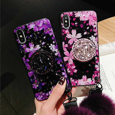 For iPhone XS MAX XR Bling Diamond Stand Plush Airbag Strap Glitter Flower Case