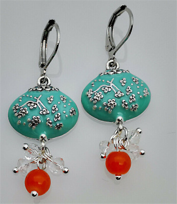 Antique Flower 925 Silver Turquoise Ear Hook Drop Dangle Earrings Chinese Style