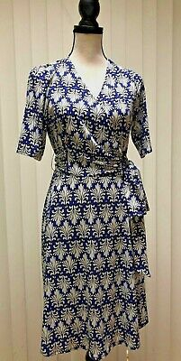 5c06ae7991f DONNA MORGAN Size 8 Navy Ivory Dress Acanthus Leaf Print Poly Jersey