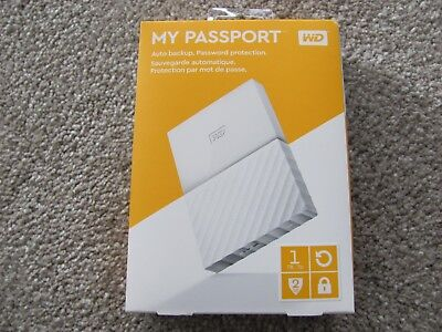 WD My Passport 1TB Portable External Hard Drive White USB 2.0/3.0 WDBYNN0010BWT