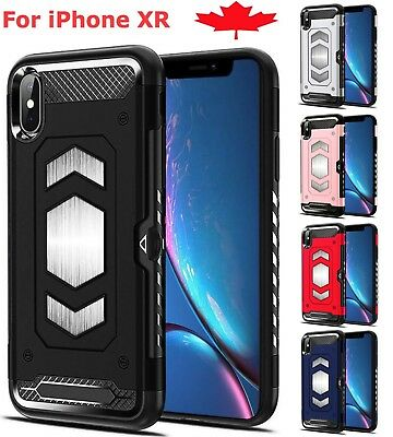 For iPhone XR Case - Shockproof Hybrid Card Slot Magnetic Heavy Duty Hard Cover