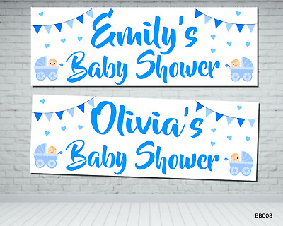 X2 Budget Print Personalised Blue Christening Party Banners Any Name