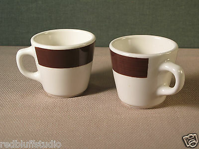 (2) 1960's Brown & White Coffee Cups Homer Laughlin Resturant Ware