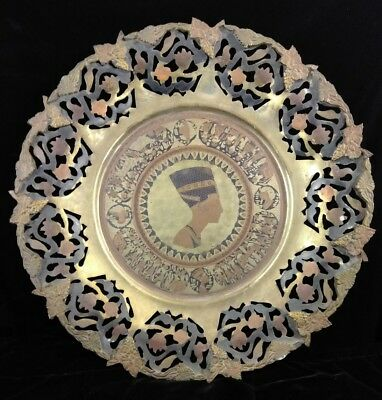 """Large 15.5"""" Vintage Egyptian Copper Brass Hand-Etched Wall Hanging Plate"""
