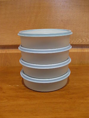 TUPPERWARE 4 sheer big wonder 16 oz snack bowls #1405 w/country blue seal lids