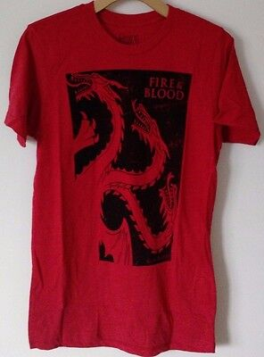 Game Of Thrones Fire And Blood Targaryen Dragon Graphic Tee T-Shirt Hbo Got
