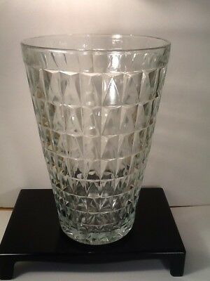 Clear Glass Vase Geometric EO Brody Co USA #120 Mid-Century Large