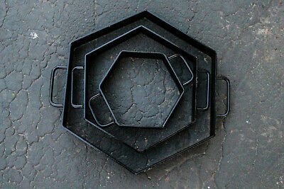 """NEW Set Of 3 Hexagon Patio Stepping Stone 8"""" 12"""" 16"""" Inch CONCRETE CEMENT MOLD"""