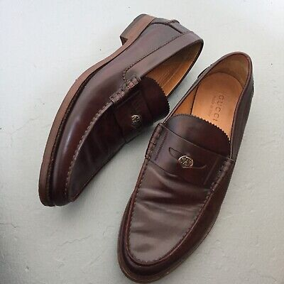 4e1687657208d MINT GUCCI POLISHED Leather Penny Loafers Sz 9 Cordovan EUC Logo Coin Mens  Italy