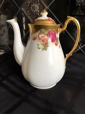 VintGolden Rose Royal Chelsea Coffee Pot Teapot English Bone China