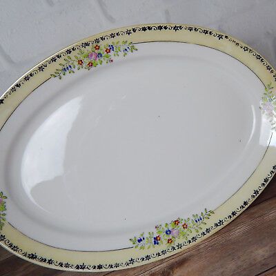 """Vintage Trico Handpainted Oval Serving Platter Yellow Floral Band 11.75"""""""