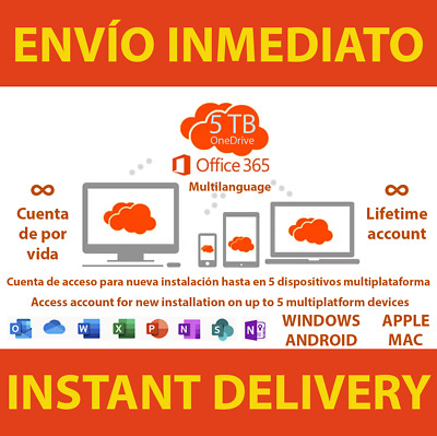 ∞Instant Office 365 2019 Pro Plus 5 Dispositivos 5TB Onedrive Licencia Lifetime∞