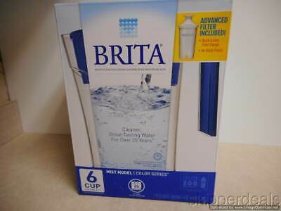 Brita 6 Cup Water Filtration Pitcher Blue Mist With Advanced Filter Included New