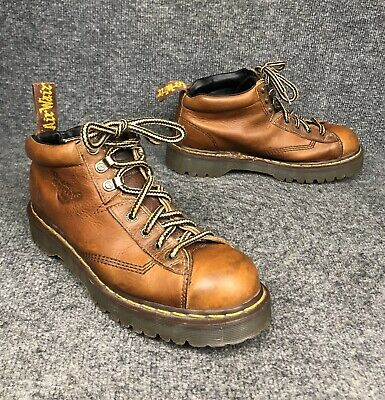 Dr. Martens 8287 Brown Pebbled Leather Air Wair Combat Ankle Boots Mens Sz 12
