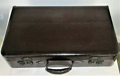 "Antique Chinese Brown Leather Suitcase Cedar Wood Brass Hardware 20"" x 12"" x 5"""