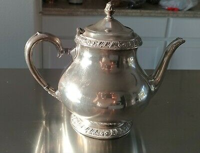 "Antique Henley Oneida Community 7.5"" Collectors Silver Ornate Teapot"