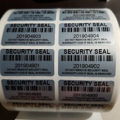 100x SECURITY SEAL VOID IF REMOVED TAMPER EVIDENT BARCODE SERIAL ID 30MMX15MM