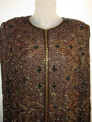 Stenay M 100% Silk Beaded Jacket Metallic Brown Gold Bolero Shiny Party Vintage