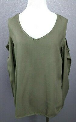 0c562eeb0516ee Cloth   Stone Size S Cold Shoulder Top Shirt Army Green Long Sleeve Rayon