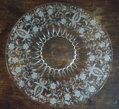 """Vtg Viking New Martinsville Etched Prelude 4901 Flat Edge 15"""" Torte Plate EXC"""