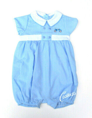 Baby Boys Spanish Style Romper Suit,Romany Smocked Embroidered Outfit Blue White