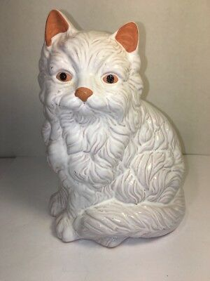 Persian Cat Sitting Figurine Clay Pottery Glazed In White Vintage 6.5 X 5 X 4