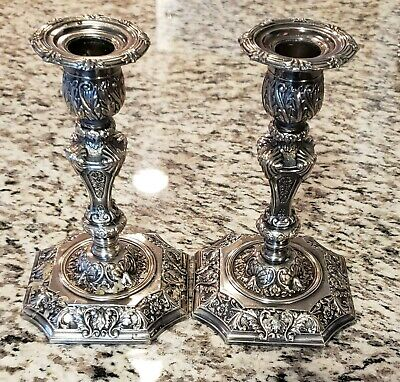 Vtg Corbell and Company Silver Plate Candlesticks
