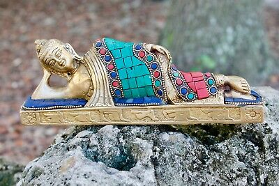 Reclining Buddha Bronze Statue Tibetan Chinese Asian buddhist Sculpture 19C RARE