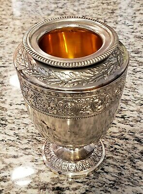Rare Vtg Corbell and Company Silver Plate Lidded Urn Flower Vase w/ Crests