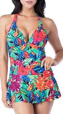 2bcc020aef NEW Chaps Womens Polynesian Halter One Piece Swimsuit Swimdress Bathing Suit  6 S