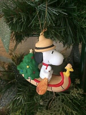 Snoopy And Woodstock Christmas Ornaments.Vtg Snoopy Woodstock Christmas Ornament Canoe Christmas Tree Scout Kurt Adler