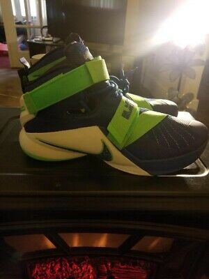 the latest 08b56 c75e5 NIKE LEBRON SOLDIER IX 9 Sprite Blue Lime Green Shoes Mens Size 11