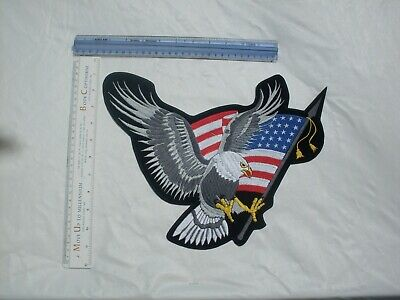 """Large Motorcycle Vest Patch With Silver Eagle /""""Hell on Wheels/"""" 8.5/"""" x 8.5/"""""""