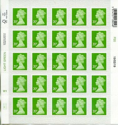 GB NEW 2019 SBP2i M19L 20p W1 CYLINDER DATE BLOCK OR SINGLE MACHIN DEFINITIVE