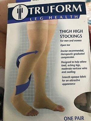 27ee02a83 TRUFORM 0868  20-30 Compression Thigh High Open Toe Beaded Stay-up ...