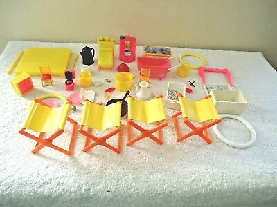 Vintage Mixed Lot Of Barbie Camping Items,Miniature Doll House Furniture,etc.