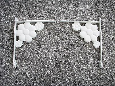 "Set 2 Vintage Mid Century Modern Cast Iron Flower Shelf Brackets White 9½""x11½"""
