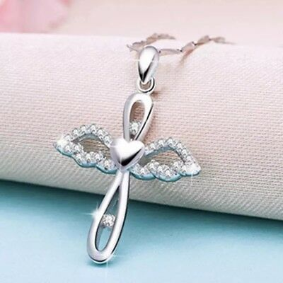 "925 Sterling Silver Plated Angel Wing Cross CZ Crystal Pendant Necklace 18"" N50"